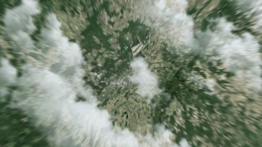 Earth zoom in from outer space to city. Zooming on Frankfurt, Germany. The animation continues by zoom out through clouds and atmosphere into space. View of the Earth at night. Images from NASA. 4K | Shutterstock HD Video #1068265421