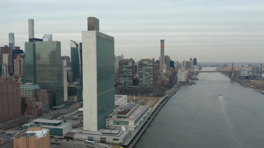 Flying counter clockwise around and towards United Nations headquarters in NYC