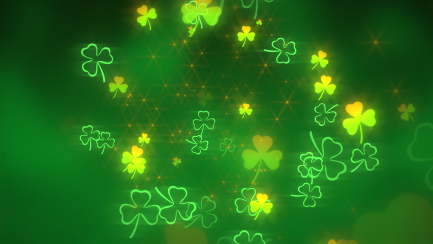 Animation motion small green shamrocks with glitters on Saint Patrick Day shiny background. Luxury and elegant dynamic style for holiday theme | Shutterstock HD Video #1068302048