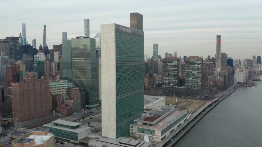 Flying counter clockwise around United Nations headquarters in NYC