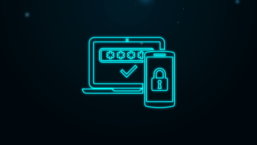 Glowing neon line Multi factor, two steps authentication icon isolated on black background. 4K Video motion graphic animation. Royalty-Free Stock Footage #1068317552