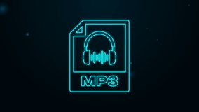 Glowing neon line MP3 file document. Download mp3 button icon isolated on black background. Mp3 music format sign. MP3 file symbol. 4K Video motion graphic animation.
