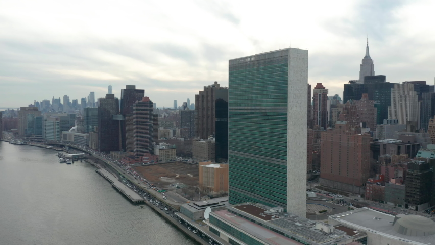 Flying clockwise around and towards United Nations headquarters in NYC