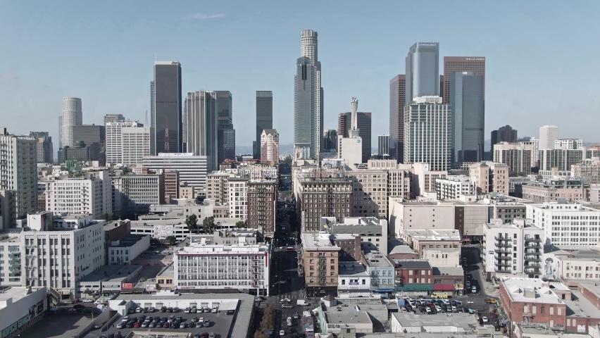 LOS ANGELES, CA, USA - Feb 15, 2021: Drone 4k. Aerial view. Establishing shot of downtown Los Angeles. modern office buildings, skyscrapers, banks, apartments in LA. Urban life, financial city
