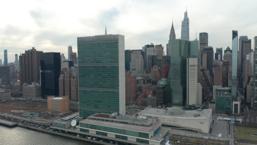 Flying clockwise around United Nations headquarters in NYC