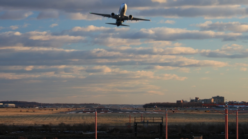 An airplane takes off from a runway in Arlington, Virginia near Washington, D.C. on a late winter afternoon.