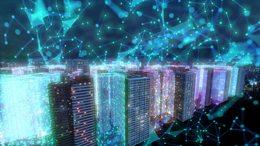 Future smart city cyber space buildings landscape animation.   Shutterstock HD Video #1068344300