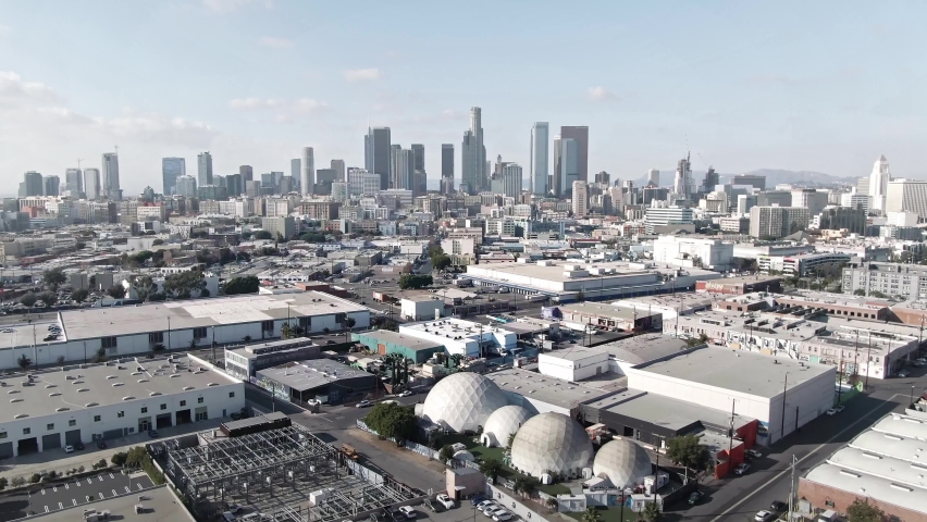 LOS ANGELES, CA, USA - Feb 15, 2021: Los Angeles Drone 4k. Aerial view of modern office buildings, skyscrapers, banks, downtown apartments in LA. Urban life, financial business, city in USA.