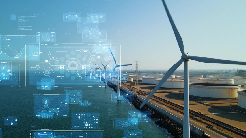 Wind power plant and technology. Smart grid. Renewable energy. Sustainable resources. Royalty-Free Stock Footage #1068482210