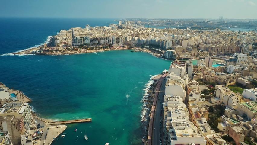 Aerial view of Spinola bay, St Julian's and Sliema cities. Malta | Shutterstock HD Video #1068492887