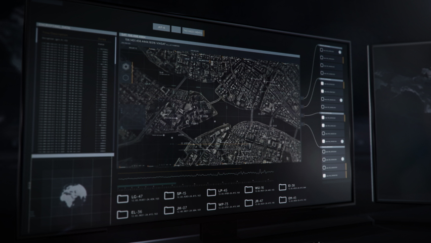 Computer screen. The newest spying technology use to locate the position of runaway prisoner. The last known place was a bridge in Tokyo. The drones are flying towards it for supervising. Radar Data | Shutterstock HD Video #1068500903