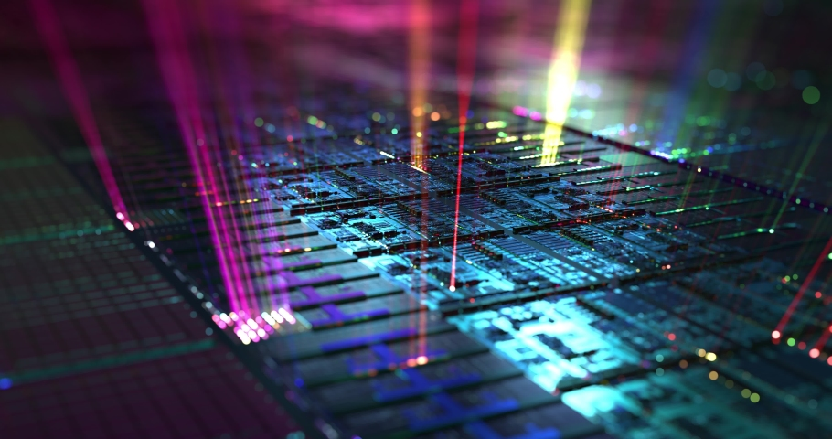 Silicon wafer, hardware data processing background. 3D rendering, 4K loop | Shutterstock HD Video #1068503459