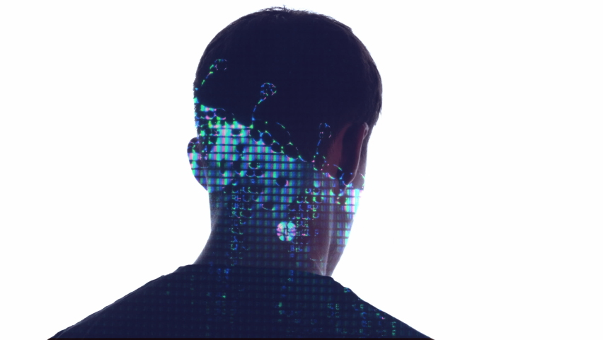 Double exposure male silhouette. AI technology. Iridescent liquid crystal drip glitch animation in portrait of cyborg guy turning head looking back isolated on white copy space background. | Shutterstock HD Video #1068503684
