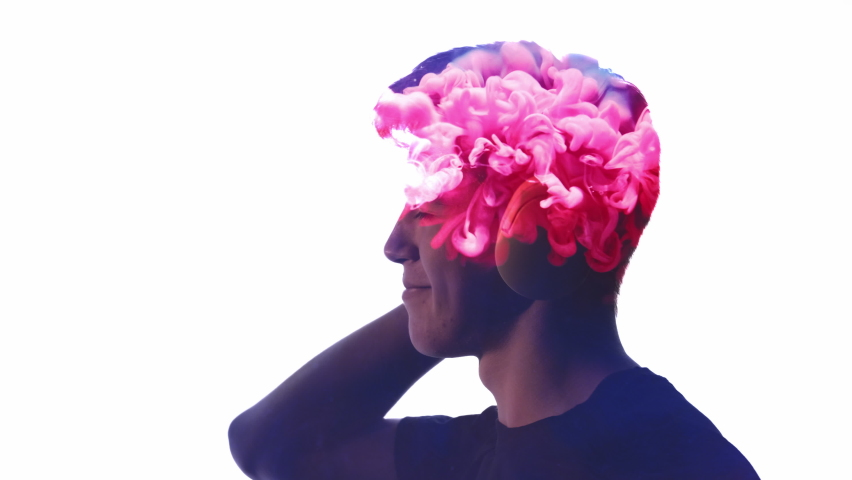 Double exposure silhouette. Music energy. Inspiration relaxation. Pink smoke explosion animation in shape of satisfied guy enjoying listening audio in headphones isolated on white empty space. | Shutterstock HD Video #1068503720