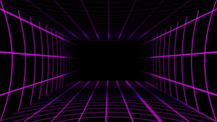 Purple neon grid rotates on black background | Shutterstock HD Video #1068503837