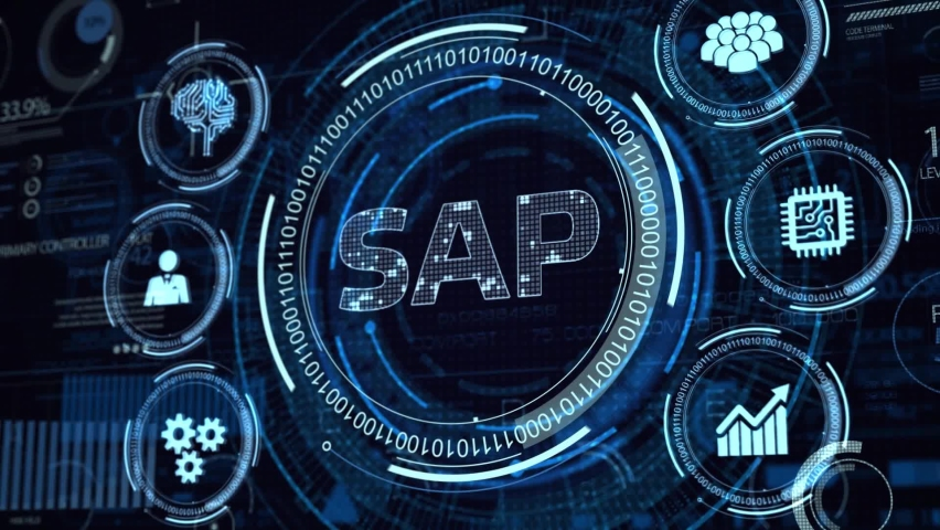 SAP System Software Automation concept on virtual screen data center. Business, modern technology, internet and networking concept | Shutterstock HD Video #1068504560