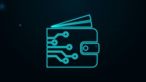 Glowing neon line Cryptocurrency wallet icon isolated on black background. Wallet and bitcoin sign. Mining concept. Money, payment, cash, pay icon. 4K Video motion graphic animation.