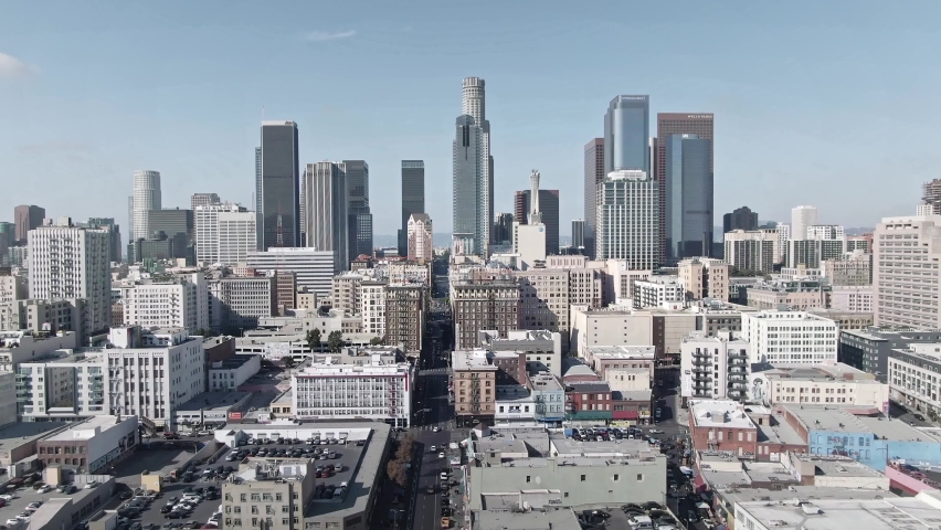LOS ANGELES, CA, USA - Feb 15, 2021: Drone 4k. Los Angeles aerial view. Establishing shot of modern office buildings, skyscrapers, banks, apartments in LA. Urban life, financial business city in USA
