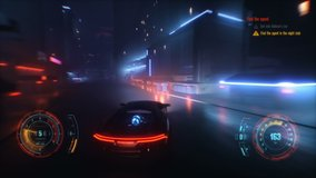 4K Speed racing fake 3D Video game with HUD. Neon style city