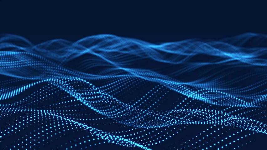 Dynamic wave of glowing particles. Digital technology background. 3d rendering. Seamless loop. Royalty-Free Stock Footage #1068536498