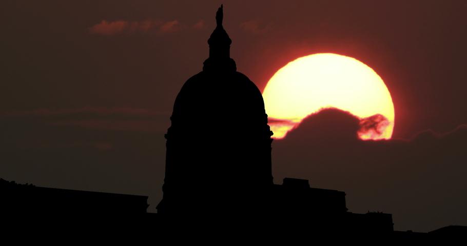 Georgia State Capitol Atlanta Big Sun Sunrise Time Lapse