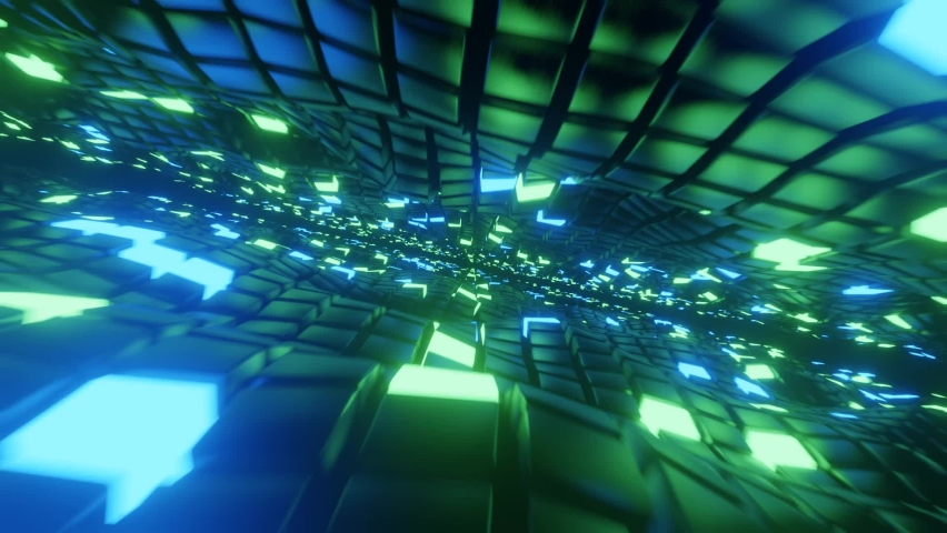 seamless abstract cyberspace cubes waving 3d render Royalty-Free Stock Footage #1068541337
