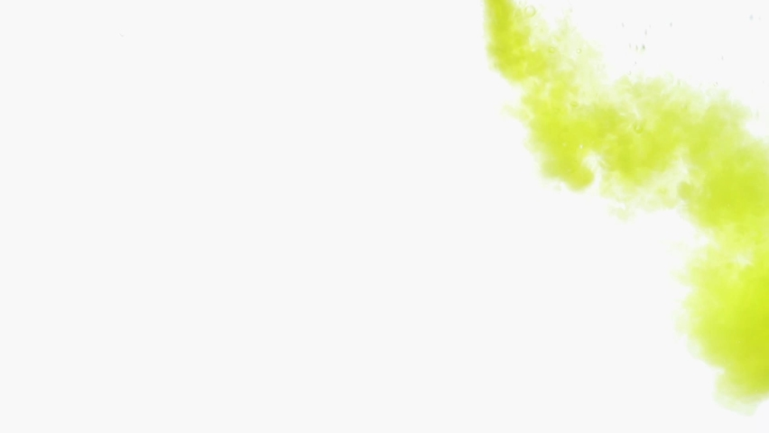 Yellow and olive ink spreading in water on white. Abstract color background, liquid smoke, psychedelic and art concept. | Shutterstock HD Video #1068554492