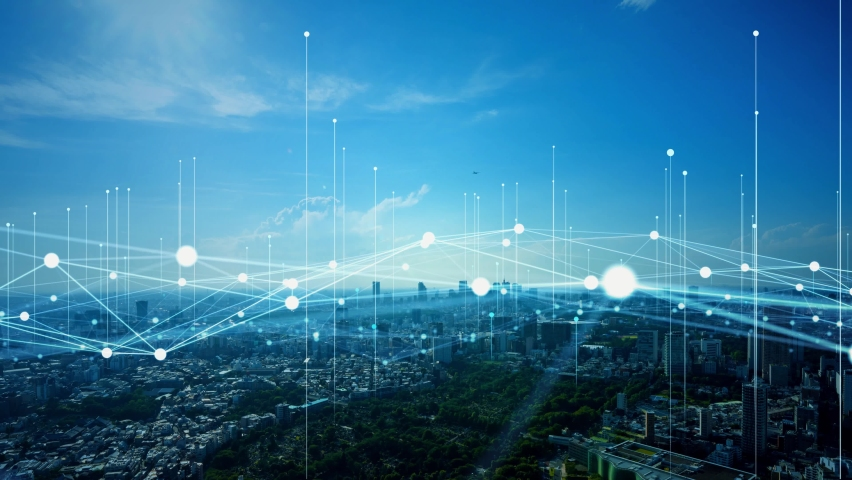Modern cityscape and communication network concept. Telecommunication. IoT (Internet of Things). ICT (Information communication Technology). 5G. Smart city. Digital transformation. | Shutterstock HD Video #1068575801