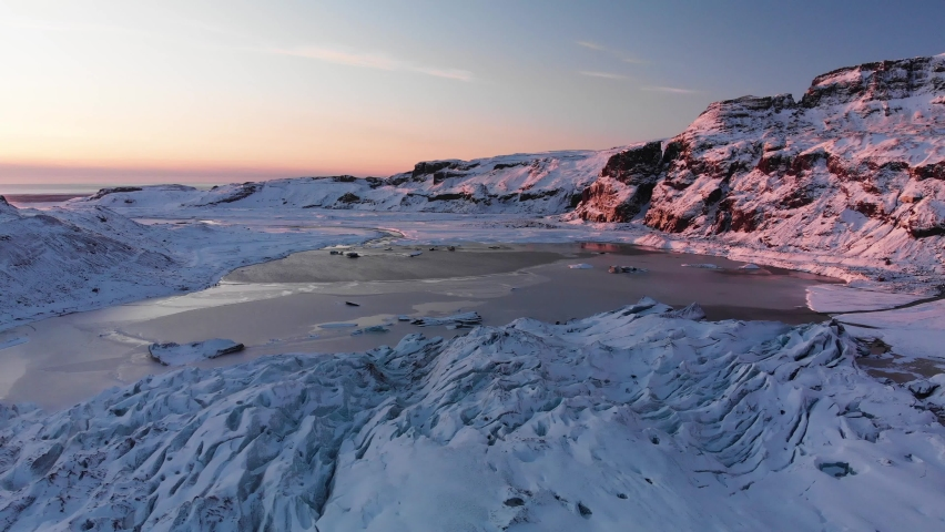 Glacier and sea mountains, Iceland, aerial footage Royalty-Free Stock Footage #1068593066