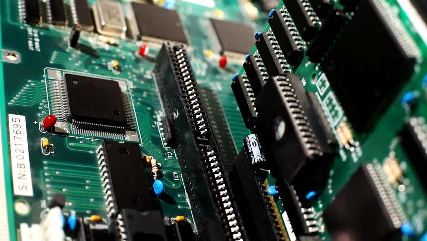 Close up view on main board with expansion cards Royalty-Free Stock Footage #1068619