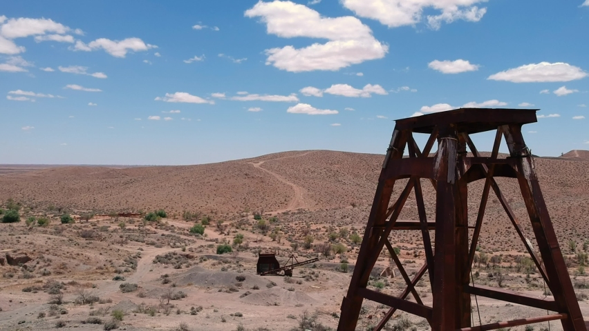 Rising up the side of an old abandoned mine shaft in outback Australia