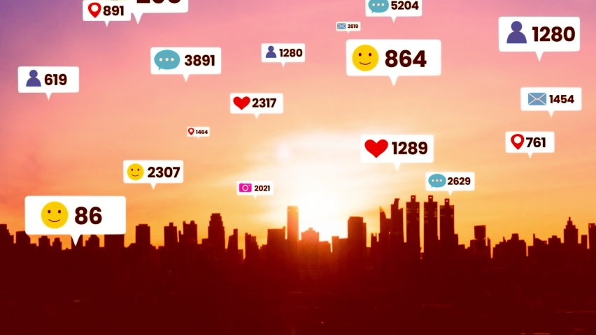 Social media icons fly over city downtown showing people engagement connection through social network application platform . Concept for online community and social media marketing strategy . | Shutterstock HD Video #1068625682