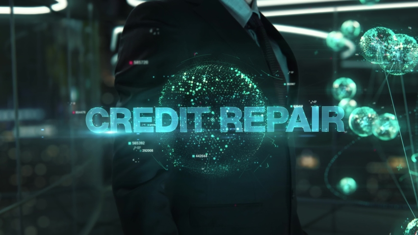 Businessman with Credit Repair hologram concept Royalty-Free Stock Footage #1068632717