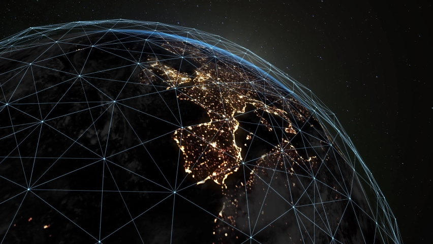 Digital grid over the surface of the night planet earth. A futuristic, global plexus network that covers the entire planet. Royalty-Free Stock Footage #1068634805