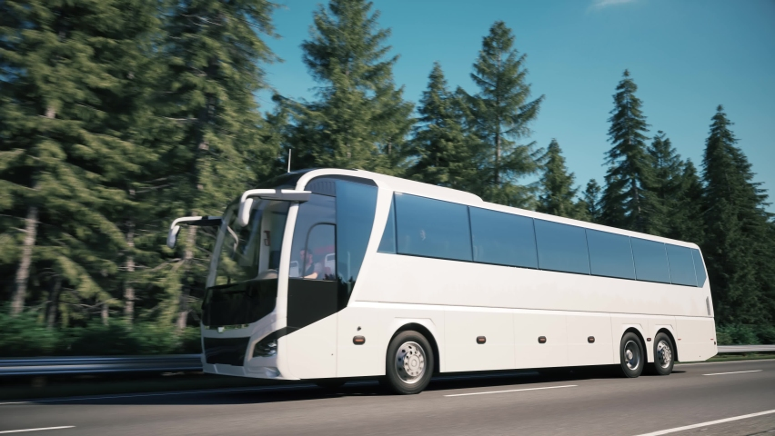 White tourist bus in travel. Tourist bus drive along the forest. Traveling of white tourist bus. 3d animation Royalty-Free Stock Footage #1068643934