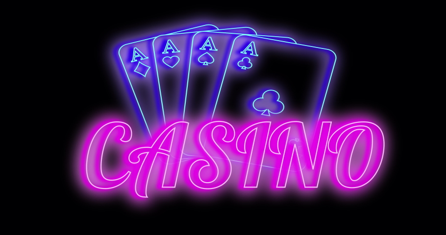 Glowing neon line Playing cards icon and inscription casino isolated on black background. 4K video animation graphics   Shutterstock HD Video #1068710735