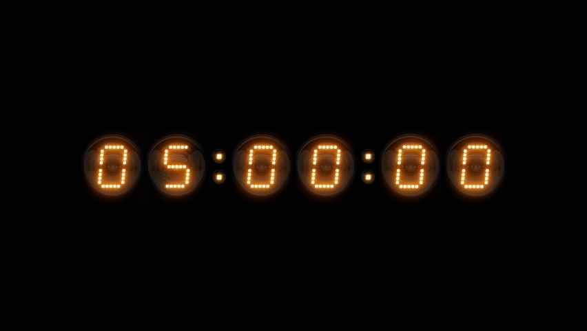 Timer. Countdown 5 minutes. Nixie tube indicator countdown. Gas discharge indicators and lamps. 3D. 3D Rendering  Royalty-Free Stock Footage #1068739232