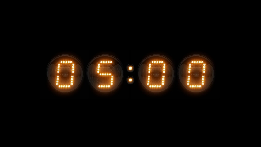 Timer. Countdown. Countdown 5 minutes. Nixie tube indicator countdown. Gas discharge indicators and lamps. 3D. 3D Rendering  Royalty-Free Stock Footage #1068741785