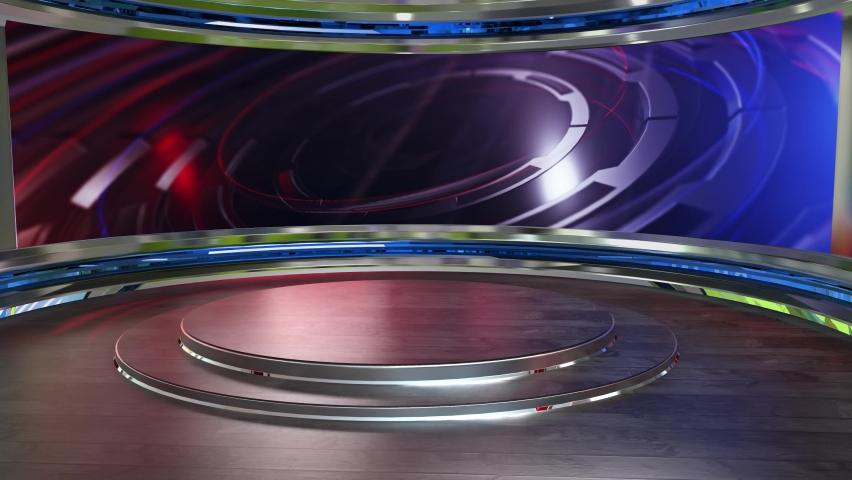 3D Virtual TV Studio News , TV On Wall.3D Virtual News Studio Background Loop