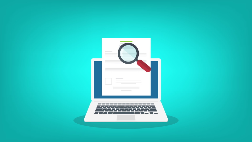 Online digital document inspection or assessment evaluation on laptop computer, contract review, analysis, inspection of agreement contract, compliance verification. Royalty-Free Stock Footage #1068828371