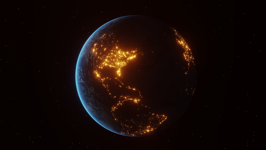 Continental night lights of american cities turn off abruptly as seen from the space. Concept of power outage or international Earth Hour event. 3d animation in 4K. Royalty-Free Stock Footage #1068904706