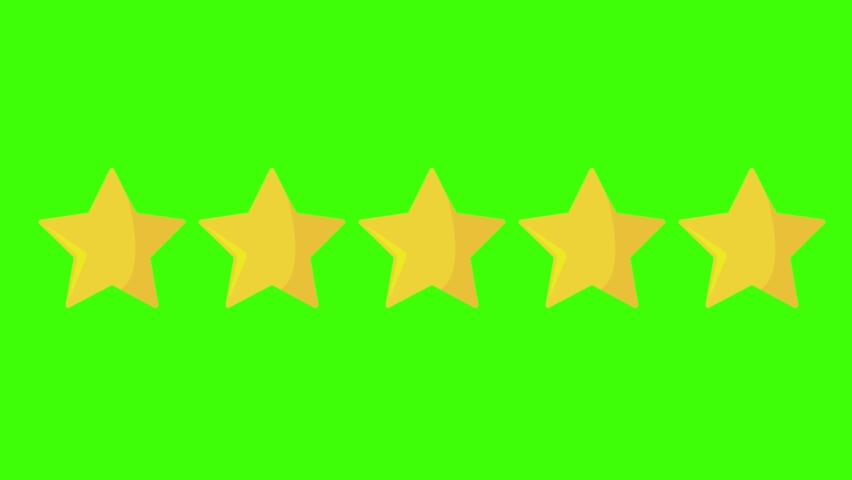 5 five yellow stars rating icon on green screen or chroma key.Movie review: five out of five. Vip Category superior class premium score animation.  Royalty-Free Stock Footage #1068919004