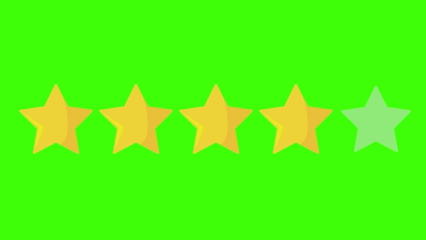 4 four yellow stars rating icon on green screen or chroma key.Movie review: four out of five. Category class score animation  Royalty-Free Stock Footage #1068919469