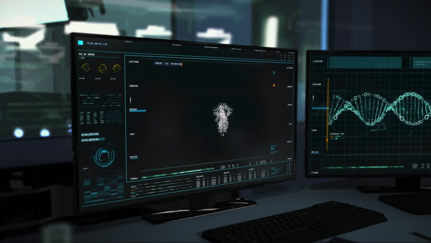 Two Computer Screens With the Software Running. The Newest Virus Stamm is Being Analysed. Covid-19 Spike Protein Structure was Identified. Medical Research Laboratory. Data Analysis. | Shutterstock HD Video #1068931988