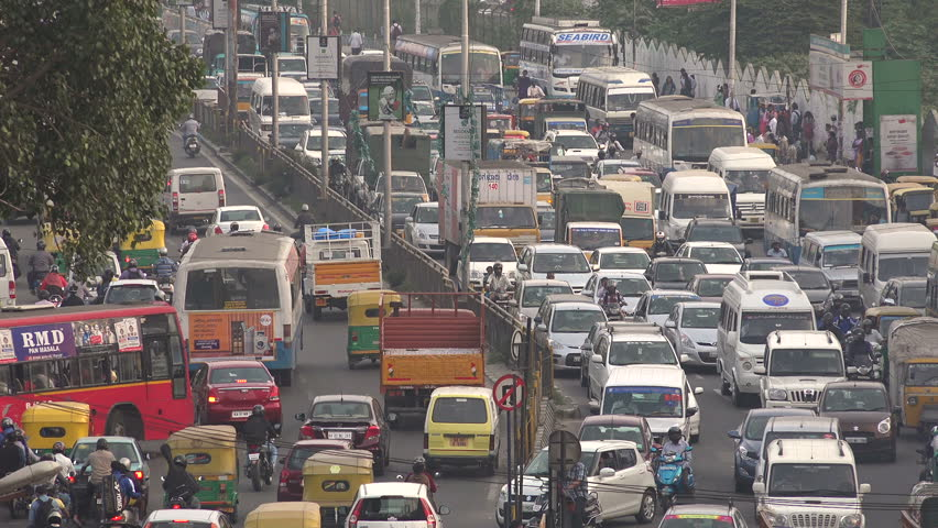 BANGALORE, INDIA - 19 NOVEMBER 2014: Overview of a major traffic jam during rush hour in the fast growing IT city Bangalore in South India.