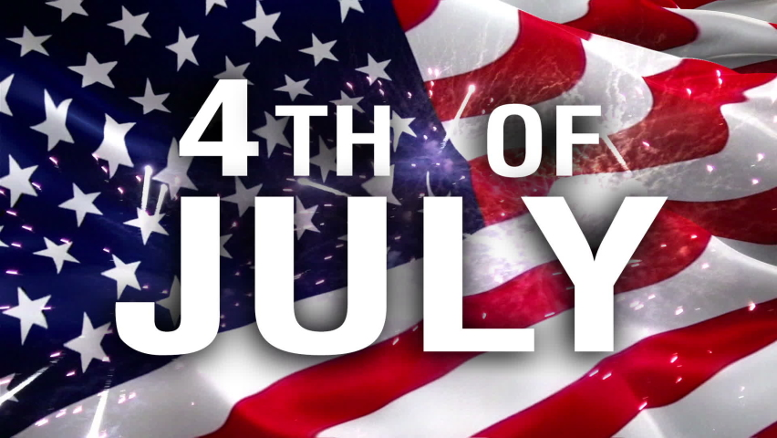 4th of July text on United States flag background. American Flag Happy July 4 Background for United States Holidays. American Flag background. Presidents Day. Banner for USA independence Day Holiday.  | Shutterstock HD Video #1068954107