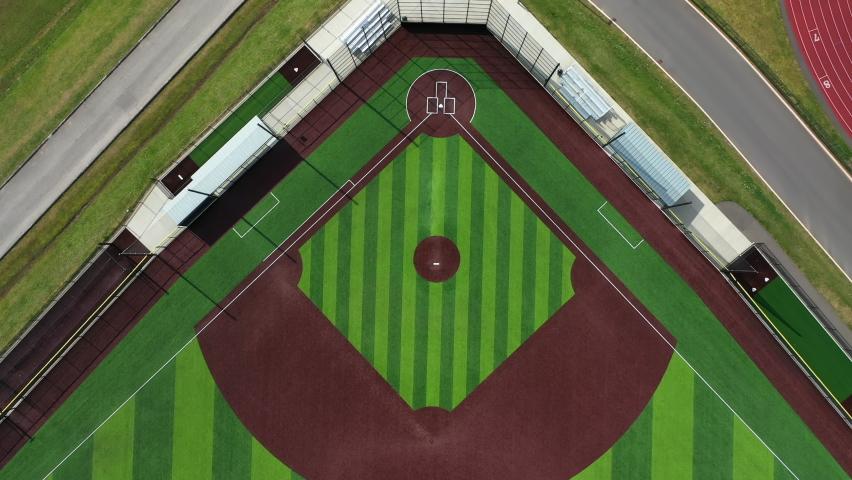 Baseball diamond rising aerial shot