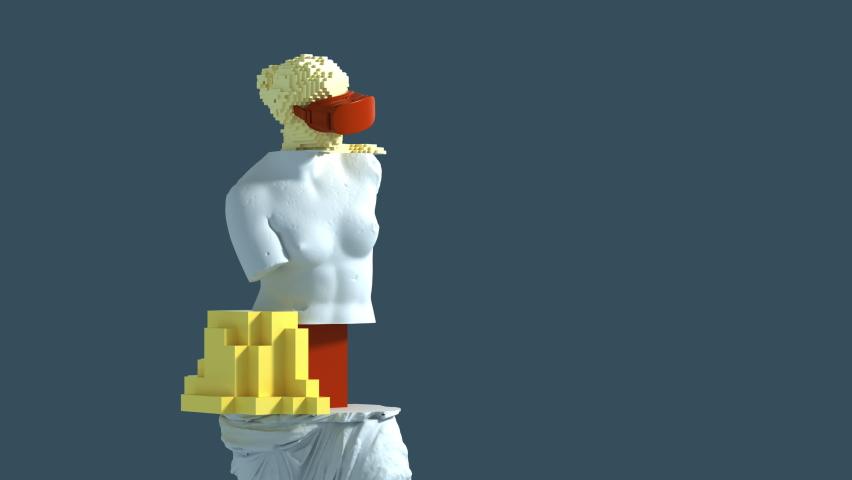 3D Glitch Of Venus De Milo On Blue Background. 3D Animation. 4K. Ultra High Definition. | Shutterstock HD Video #1069004428
