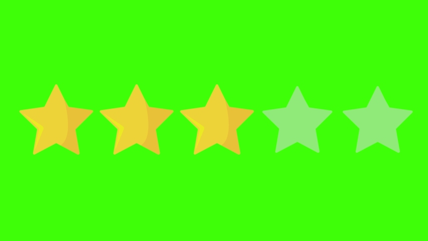 3 three yellow stars rating icon on green screen or chroma key.Movie review: Three out of five. Category class score animation  Royalty-Free Stock Footage #1069005715