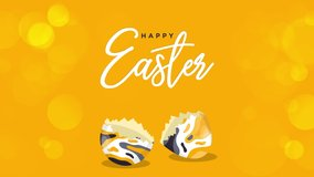Happy Easter Greeting. Easter egg on a yellow bokeh background. Easter text coming out from the broken egg. 4K Video motion graphic animation.